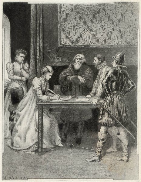 Mary Queen of Scots is compelled to sign her abdication in Loch Leven, Scotland