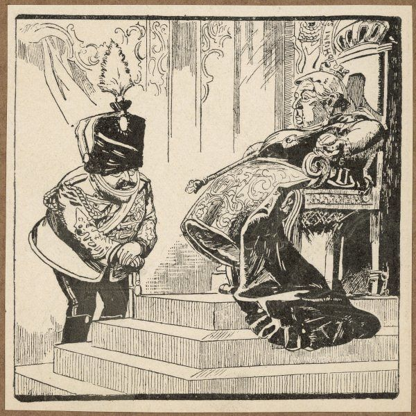 EDWARD VII Cartoon showing Edward (POW) and Queen Victoria (he asks if she would like to have a rest from sitting on the throne)