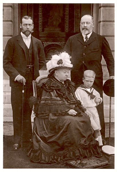 QUEEN VICTORIA With son, grandson and Great grandson