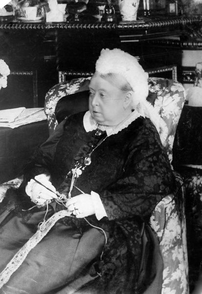 Photographic portrait of Queen Victoria (1819-1901) of Great Britain and Ireland and Empress of India, pictured knitting c.1890