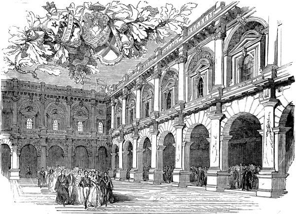 Engraving showing Queen Victoria and Prince Albert processing across the Merchant's Area of the Royal Exchange, London, at its official opening in 1844. Date: 2 November 1844