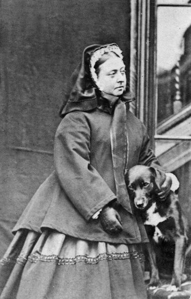 Queen Victoria at Balmoral in 1867 with her dog, Sharp