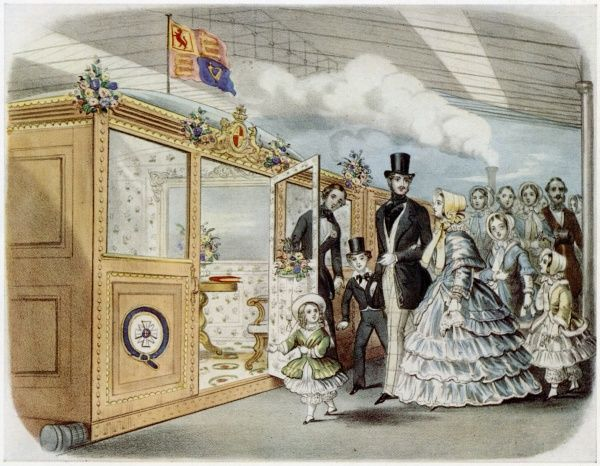 Queen Victoria, Prince Albert and the Royal children entrain for Scotland at the temporary station in Maiden Lane before the opening of King's Cross in 1852
