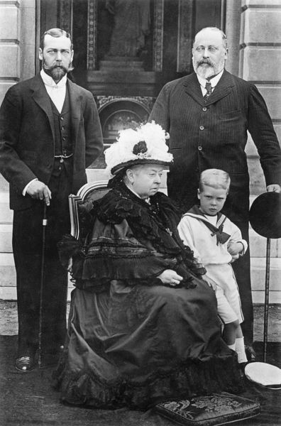 Queen Victoria pictured with her son, Edward, Prince of Wales, ('Bertie', later King Edward VII), her grandson, George, Duke of York ('Georgie', later King George V) and her great-grandson, Prince Edward of Wales, ('David&#39
