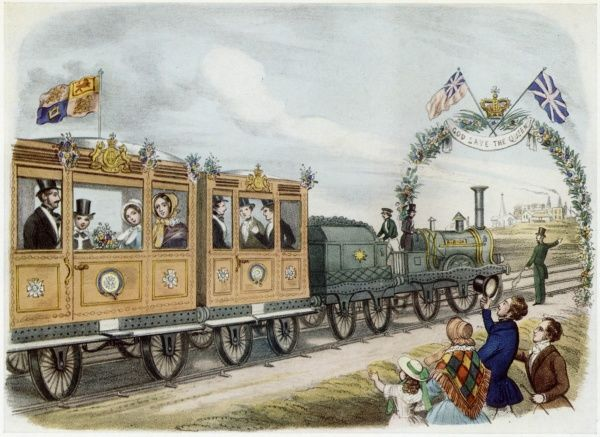 Queen Victoria travelling by train in its early days, along the Royal route to Scotland on the Great Northern Railway