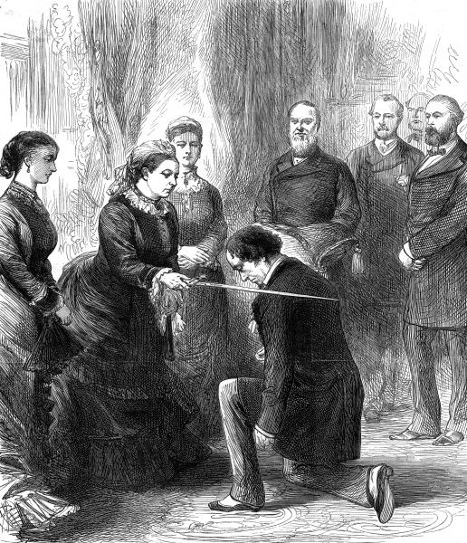 Engraving showing Queen Victoria investing Benjamin Disraeli, 1st Ear of Beaconsfield with the Order of the Garter at Osborne House, Isle of Wight, 1878
