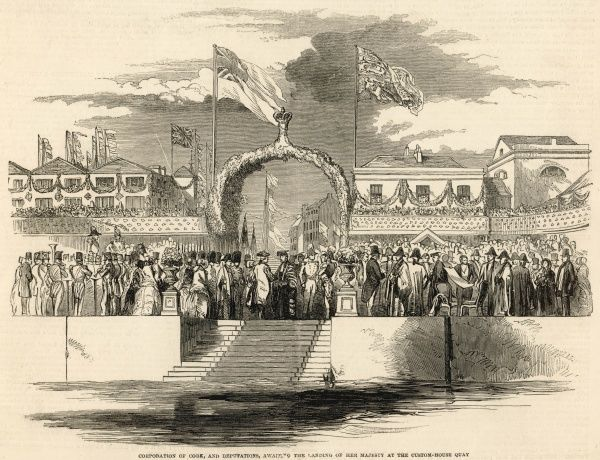 At the Custom-House Quay in Cork, Ireland, the mayor, the Corporation of Cork and various deputations await the arrival of Queen Victoria during her visit to Ireland