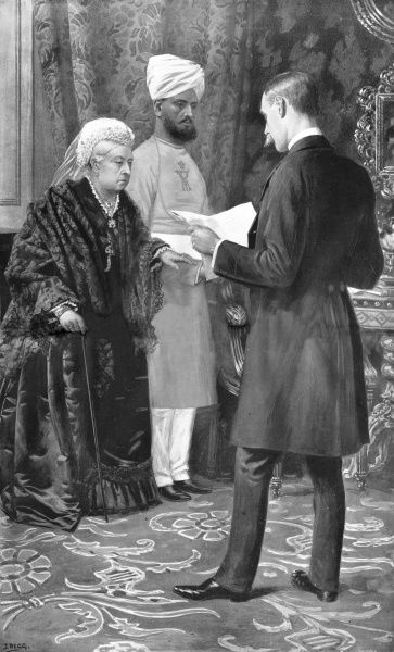 Queen Victoria, Empress of India,listening to a despatch describing the elation of the troops at the services they had rendered to the Queen. Her Indian servant, Munshi Abdul Karim, supports her. Date: 1900