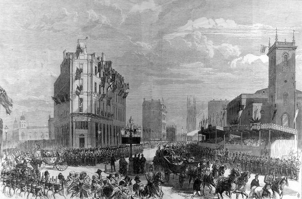 Engraving showing the Queen Victoria's carriage (right foreground) passing through London, during the official opening of the Holborn Valley Viaduct, 1869
