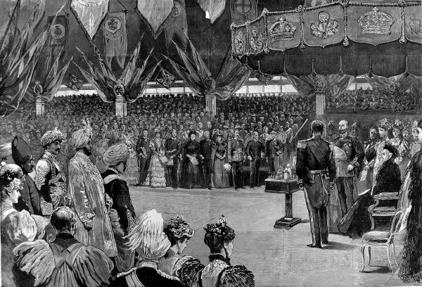 Engraving showing Queen Victoria (right) opening the Imperial Institute of the United Kingdom, the Colonies and India in London, May 1893