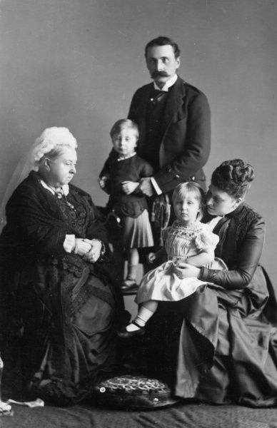 Queen Victoria with the Battenbergs in 1889; Prince Henry of Battenberg holds his son Alexander ('Drino' - later Marquess of Carisbrooke), while Princess Beatrice holds their only daughter, Ena (Victoria Eugenie Julia Ena, later Queen of Spain)