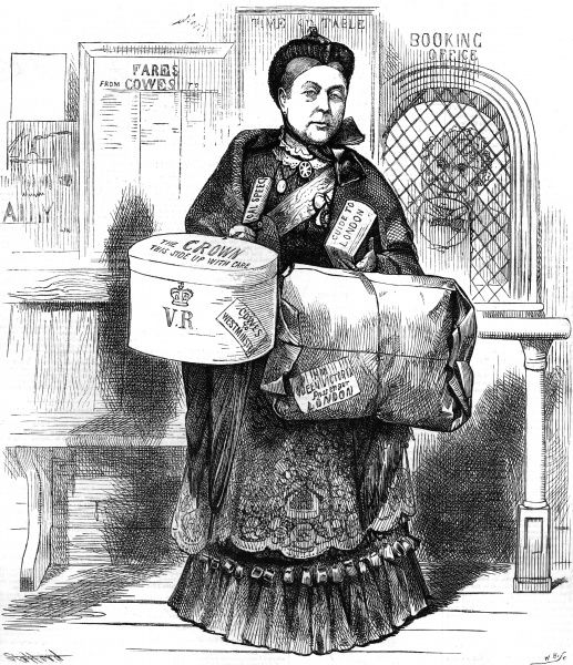 Queen Victoria depicted at the railway ticket office with her luggage, about to travel to London to open Parliament. Date: 1886