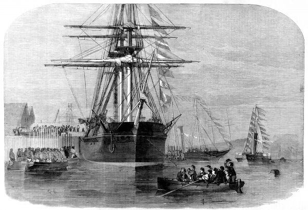 Engraving showing Queen Victoria of Great Britain boarding the Arctic exploration ship HMS 'Resolute' in Cowes Harbour, 15th December 1856. In 1852 HMS 'Resolute' had set out with three other Royal Navy ships to search for the missing explorer