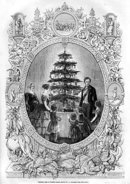 Engraving of Queen Victoria and Prince Albert with their children at Windsor Castle. The royal family can be see admiring their Christmas tree