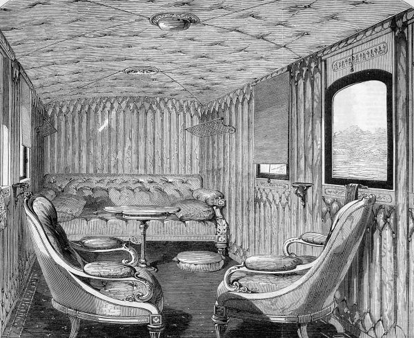 The saloon of Queen Victoria' s carriage on the London and North Western Railway