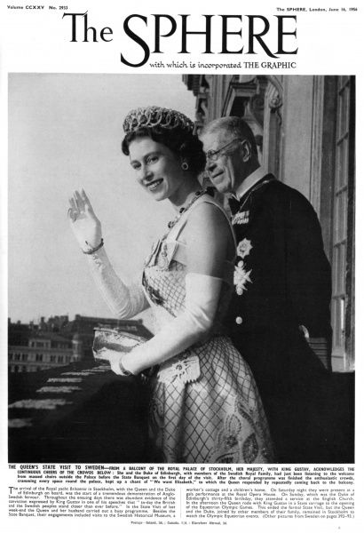 The Queen acknowleges the cheering crowd from a balcony of the Royal Palace of Stockholm. She is with King Gustav of Sweden. Date: 1956