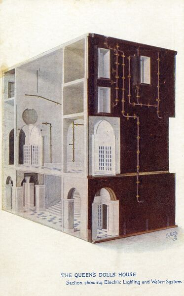 The Queen's Dolls' House - a section showing Electric Lighting and Water Systems Date: 1924