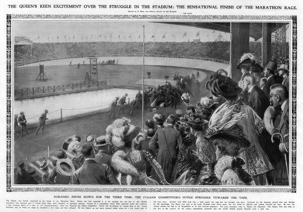 The image depicts a scene from the the 1908 Olympics held in London. The marathon was watched by 80,000 spectators, including Queen Alexandra, who witnessed the collapse of the leading competitor only metres away from the finish line. Dorando Pietri