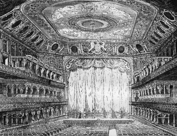 The design for the Queen's Opera House, Langham Place: the interior of the concert hall. In 1941, the hall would be destroyed by an incendiary bomb. Date: 1900