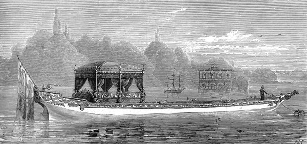 Engraving of Queen Victoria's new Royal Barge on Virginia Water, from the Illustrated London News, 30th June 1877. This four-oared barge was built of teak and mahogany by C. and A. Burgoyne of Kingston-on-Thames