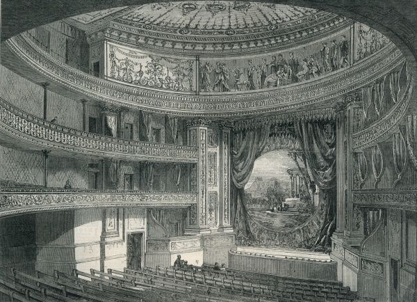 The auditorium of the Queens Theatre, on Longacre, London, near Covent Garden, opened in 1867