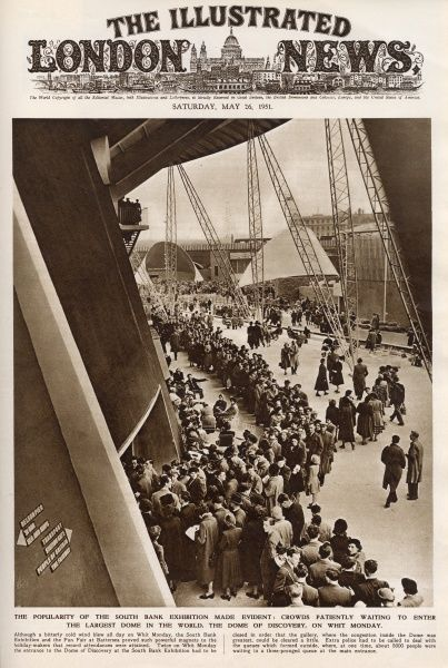 A long queue of people patiently waiting to enter the Dome of Discovery at the Festival of Britain on London's South Bank on Whit Monday. Date: May 1951