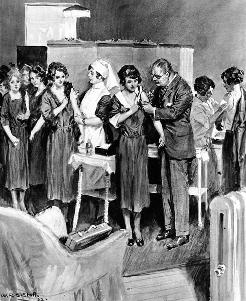 An outbreak of smallpox during October 1922. An illustration of female assistants at Harrods taking their turn to be vaccinated