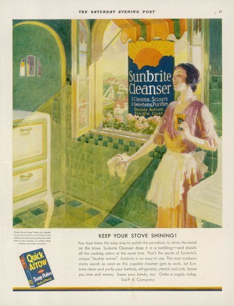 'Keep your stove shining... with QUICK ARROW SOAP FLAJES - Suds a'plenty !&#39