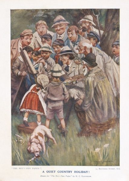 An illustration by Harold Earnshaw of an artist at work with a gaggle of spectators surrounding him