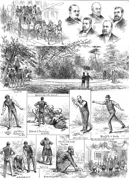 Engraving showing a number of scenes during a quoits match in Hampstead, 1888