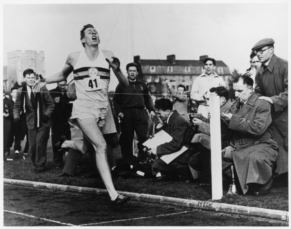 Roger Bannister of Great Britain, with a time of 3 mins 59.4 seconds, becomes the first person to run a mile in under 4 minutes, at the Iffley Road Sports Ground, England