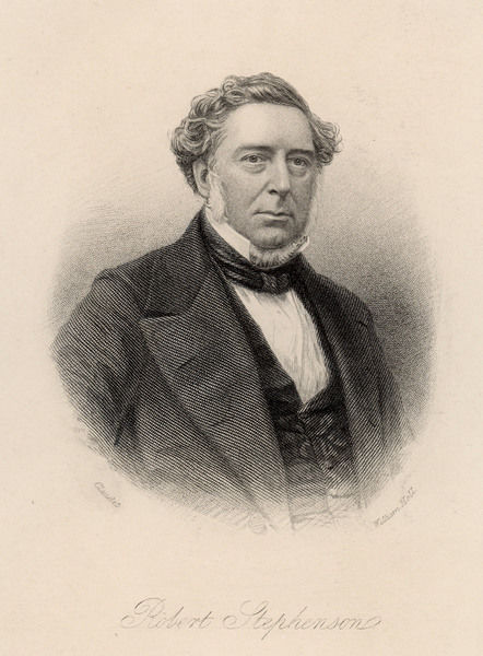 ROBERT STEPHENSON Engineer, associated chiefly with bridges such as the Menai railway bridge : drawn in 1849