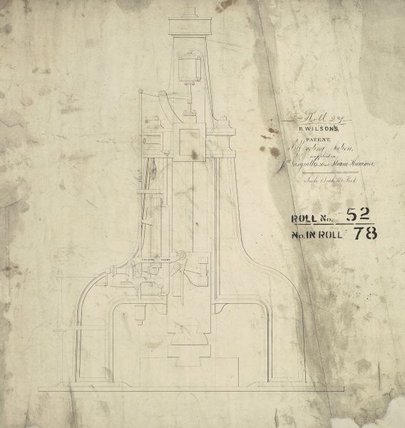 R Wilson's patent self acting motion as applied to J Nasmyth's 30 cwt steam hammer, front elevation Date