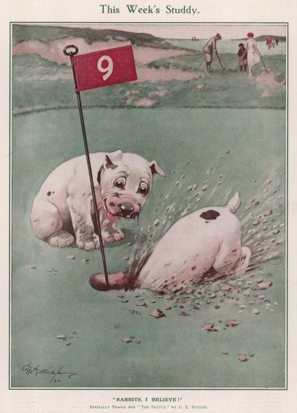 Bonzo and brother cannot think what a nice round hole if for unless it be a rabbit's doorway! Bonzo, the comic, canine creation of George Studdy totally ruins the ninth hole on a golf course by digging it up