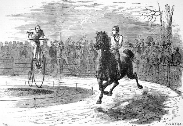 Engraving of a race held at Hammersmith, London, between a cyclist on a 'Penny Farthing' or 'Ordinary' bicycle and a rider on a pony
