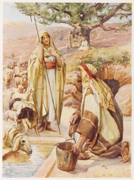 Jacob sees Rebecca, daughter of Laban, at the well, and thinks she would suit him