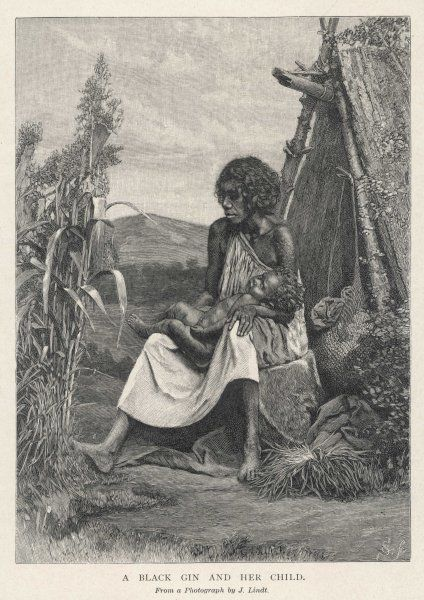 A 'gin' (aboriginal) mother and child outside their hut