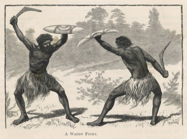 Two aboriginals disputing territory in a 'waddy fight'. armed with boomerang and shield