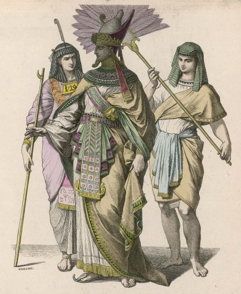 An ancient Egyptian king with a high official (left) and a fan-bearer (right)