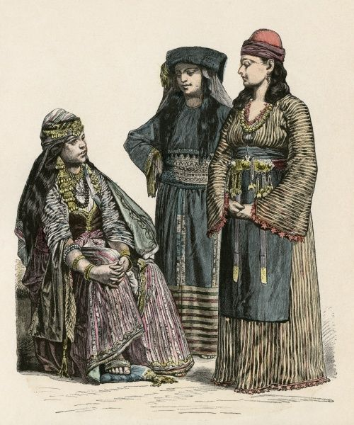 Two women from DAMASCUS, SYRIA, with between them a woman from the neighbourhood of MECCA, ARABIA Date: late 19th century