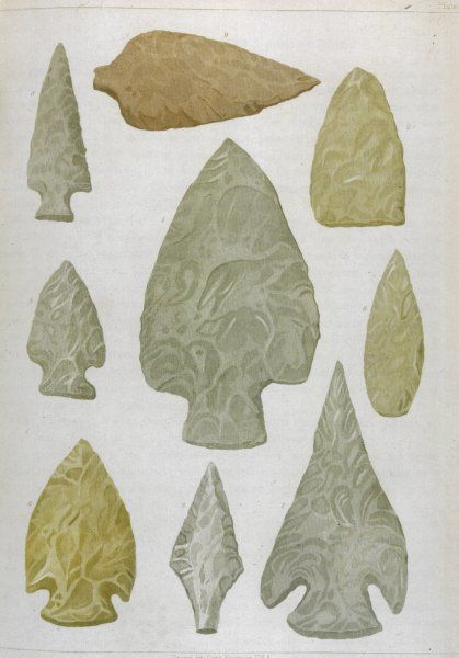 Native arrow heads made from flint