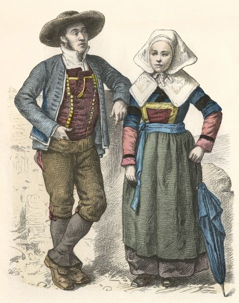 A Breton couple in traditional costume Date: late 19th century