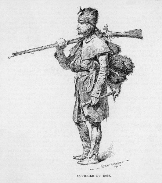 A French Canadian hunter or courrier du bois with a rifle and a hatchet Date: 1891