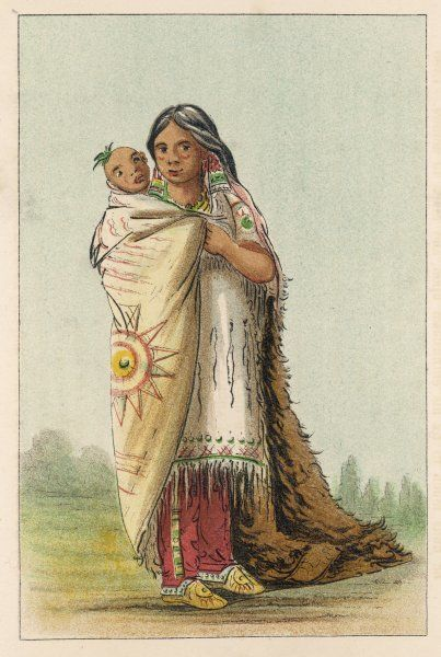 A Cree squaw with her papoose Date: circa 1830