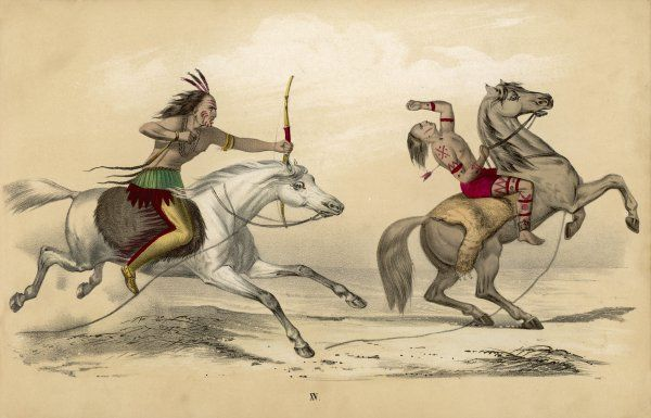 Two native men on horseback: one has shot the other in the back with an arrow