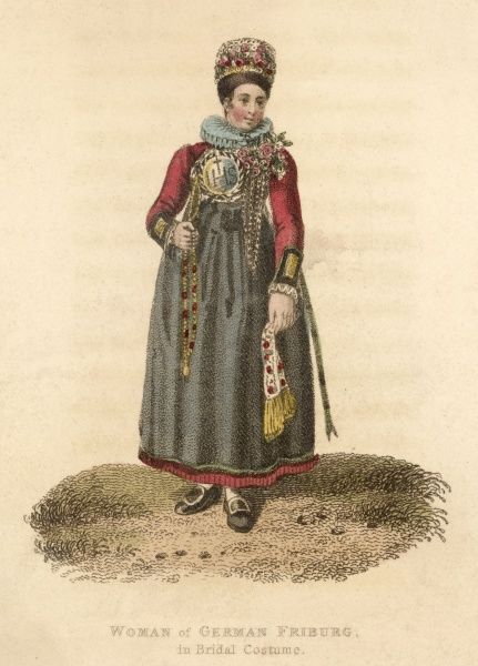 A Friburg woman in bridal costume