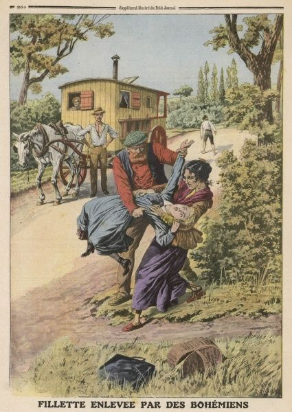 At Chauffailles, France, gipsies try to steal a girl on her way home from school, but she is able to escape them
