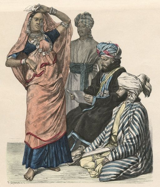An Indian dancer, watched by three Afghan men Date: circa 1880