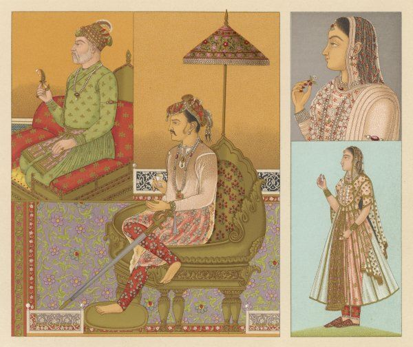 A range of Indian people: two emperors, and two ladies of the court