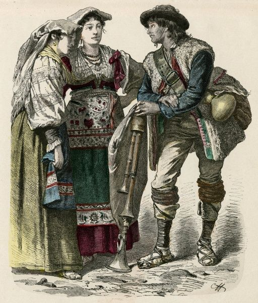 Two women from Genzano and a piper from the Neapolitan Apennines Date: late 19th century